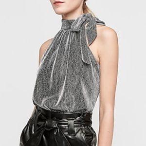 Express Metallic Tie Halter Neck Thong Bodysuit M